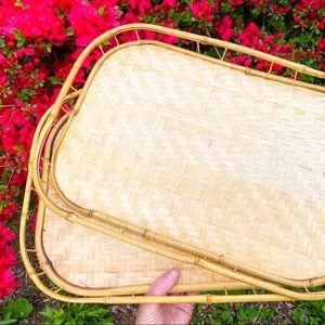 Set of 2 bamboo wood trays•vintage boho home decor